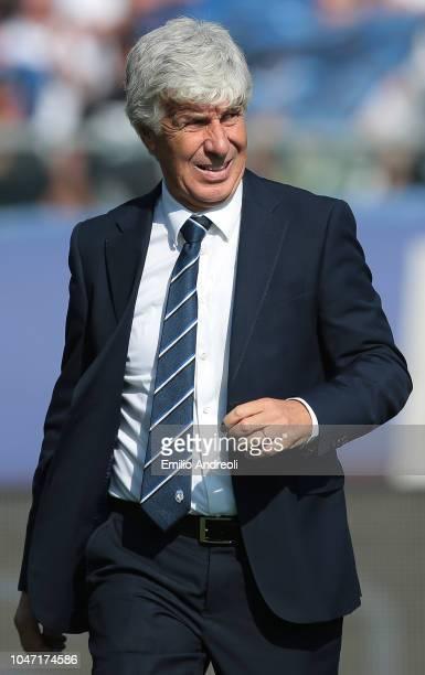Atalanta BC coach Gian Piero Gasperini looks on during the Serie A match between Atalanta BC and UC Sampdoria at Stadio Atleti Azzurri d'Italia on...