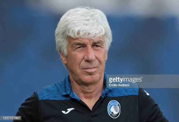 Atalanta BC coach Gian Piero Gasperini looks on during the Serie A match between Atalanta BC and Bologna FC at Gewiss Stadium on July 21 2020 in...