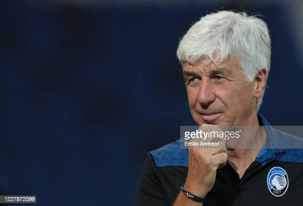 Atalanta BC coach Gian Piero Gasperini looks on during the Serie A match between Atalanta BC and FC Internazionale at Gewiss Stadium on August 1,...