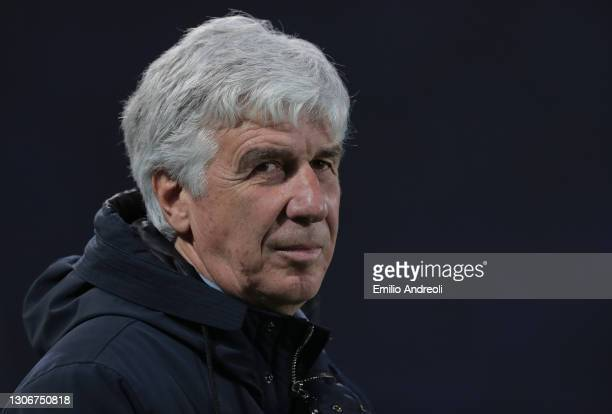 Atalanta BC coach Gian Piero Gasperini looks on during the Serie A match between Atalanta BC and Spezia Calcio at Gewiss Stadium on March 12, 2021 in...