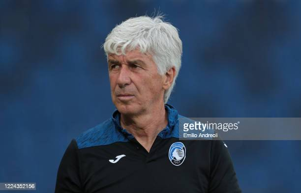 Atalanta BC coach Gian Piero Gasperini looks on prior to the Serie A match between Atalanta BC and SSC Napoli at Gewiss Stadium on July 2 2020 in...