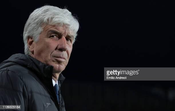 Atalanta BC coach Gian Piero Gasperini looks on prior to the TIM Cup match between Atalanta BC and ACF Fiorentina at Stadio Atleti Azzurri d'Italia...