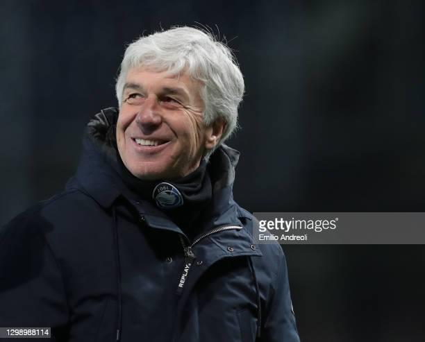 Atalanta BC coach Gian Piero Gasperini smiles during the Coppa Italia match between Atalanta BC and SS Lazio at Gewiss Stadium on January 27, 2021 in...