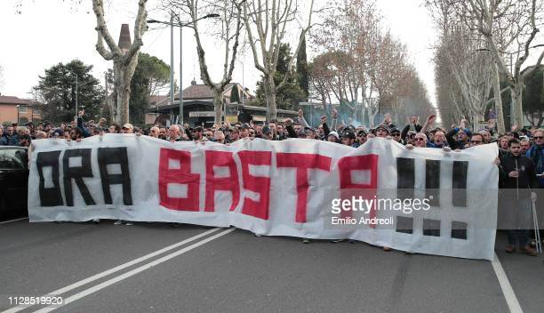 Atalanta BC fans display a banner as the protest outside the stadium prior to the Serie A match between Atalanta BC and ACF Fiorentina at Stadio...