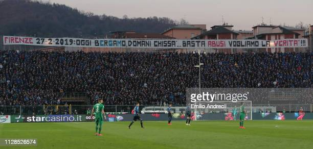 Atalanta BC fans display a banner in protest inside the stadium during the Serie A match between Atalanta BC and ACF Fiorentina at Stadio Atleti...