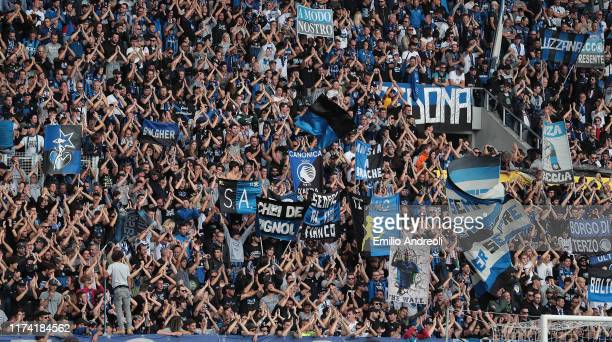 Atalanta BC fans show their support during the Serie A match between Atalanta BC and US Lecce at Gewiss Stadium on October 6, 2019 in Bergamo, Italy.