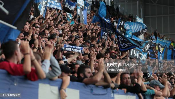 Atalanta BC fans show their support during the Serie A match between Atalanta BC and US Lecce at Gewiss Stadium on October 6 2019 in Bergamo Italy