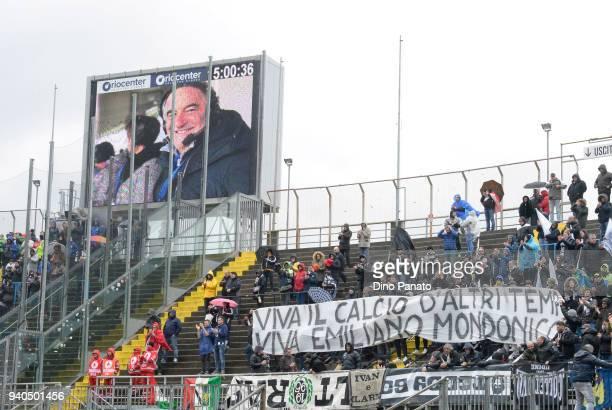 Atalanta BC fans shows banner in memory coach Emiliano Mondonico during the serie A match between Atalanta BC and Udinese Calcio at Stadio Atleti...