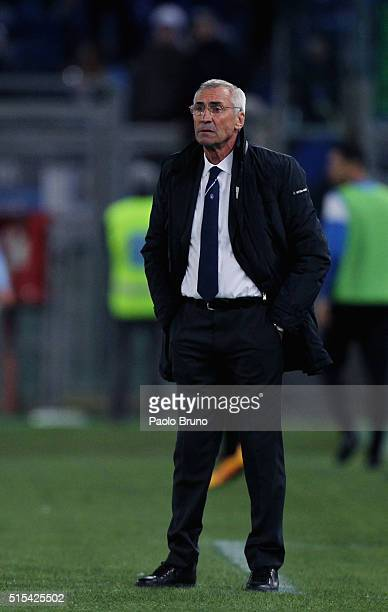 Atalanta BC head coach Eddy Reja looks on during the Serie A match between SS Lazio and Atalanta BC at Stadio Olimpico on March 13 2016 in Rome Italy