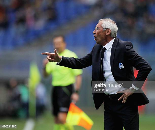 Atalanta BC head coach Edoardo Reja gestures during the Serie A match between AS Roma and Atalanta BC at Stadio Olimpico on April 19 2015 in Rome...