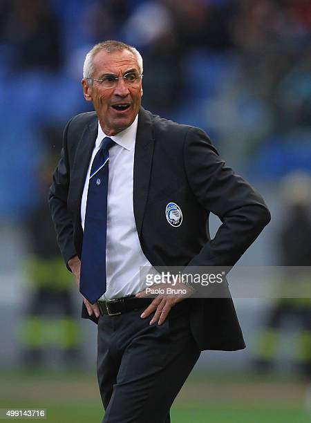 Atalanta BC head coach Edoardo Reja looks on during the Serie A match between AS Roma and Atalanta BC at Stadio Olimpico on November 29 2015 in Rome...