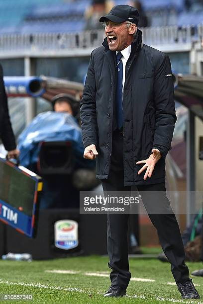 Atalanta BC head coach Edoardo Reja reacts during the Serie A match between UC Sampdoria and Atalanta BC at Stadio Luigi Ferraris on February 14 2016...