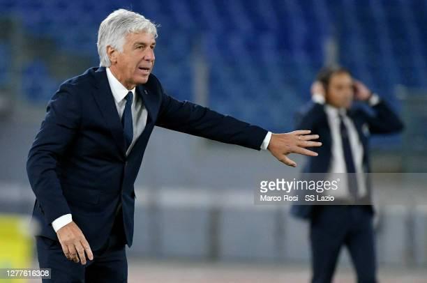 Atalanta BC head coach Giampiero Gasperini gestures during the Serie A match between SS Lazio and Atalanta BC at Stadio Olimpico on September 30,...