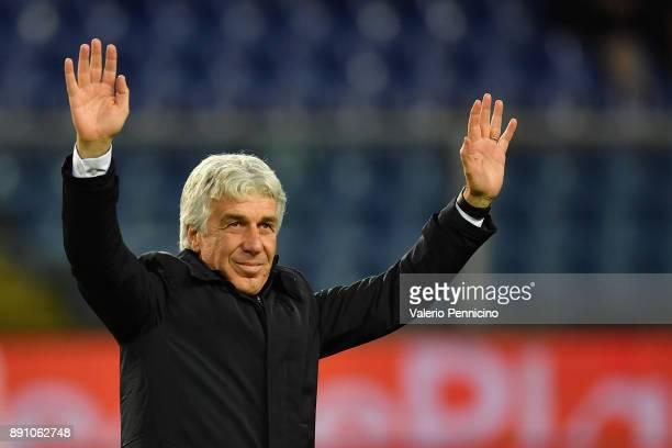 Atalanta BC head coach Gian Piero Gasperini salutes during the Serie A match between Genoa CFC and Atalanta BC at Stadio Luigi Ferraris on December...