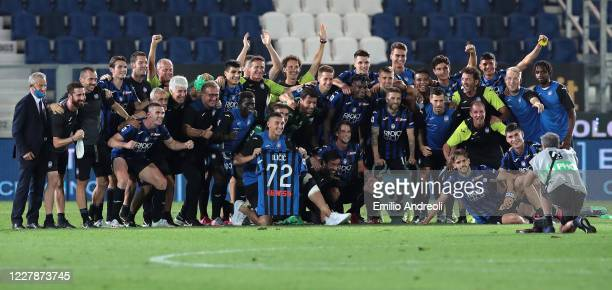 Atalanta BC players and staff pose for celebrates their third championship position at the end of the Serie A match between Atalanta BC and FC...