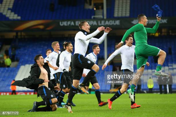 Atalanta celebrate towards their fans after the UEFA Europa League group E match between Everton FC and Atalanta at Goodison Park on November 23 2017...