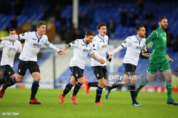 Atalanta celebrate towards their fans after the UEFA Europa League group E match between Everton FC and Atalanta at Goodison Park on November 23 2017...