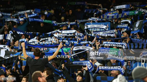 Atalanta fans enjoy the match atmosphere during the UEFA Europa League group E match between Everton FC and Atalanta at Goodison Park on November 23...