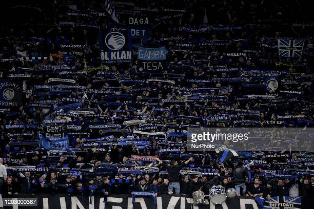 Atalanta fans show his support prior to the UEFA Champions League round of 16 first leg match between Atalanta and Valencia CF at Stadio Giuseppe...