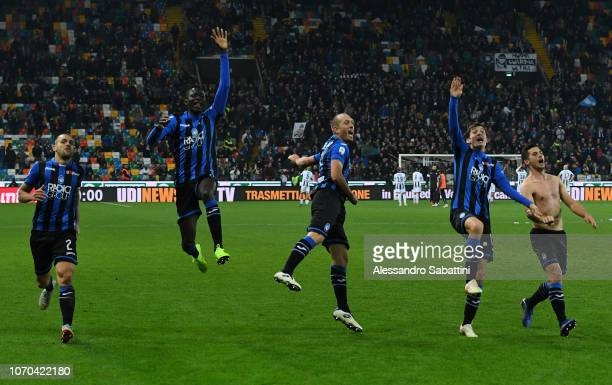 Atalanta players celebrate the victory after the Serie A match between Udinese and Atalanta BC at Stadio Friuli on December 9 2018 in Udine Italy