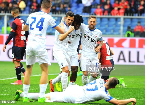 Atalanta players celebrates after score 03 during the Serie A match between Genoa CFC and Atalanta BC at Stadio Luigi Ferraris on April 2 2017 in...