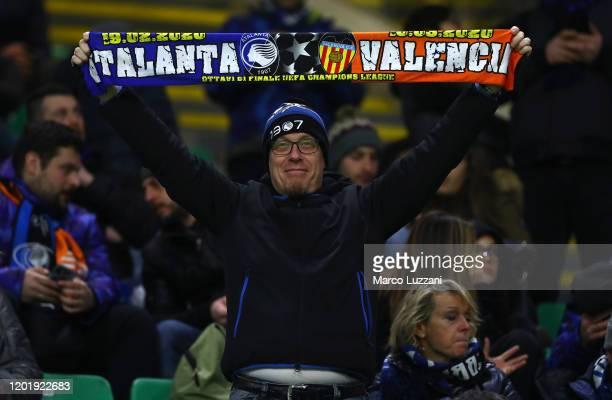 Atalanta supporter cheers prior to the UEFA Champions League round of 16 first leg match between Atalanta and Valencia CF at San Siro Stadium on...