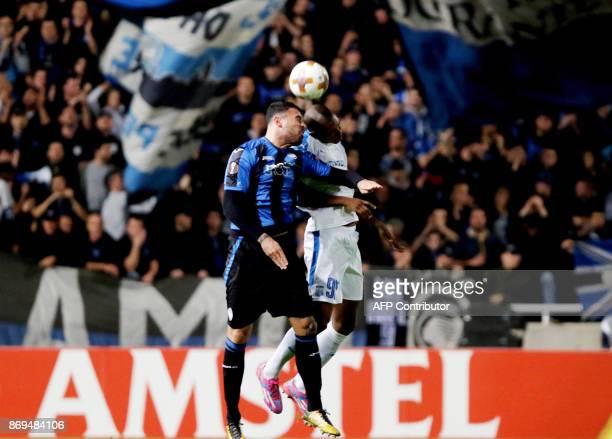 Atalanta's Andrea Petagna vies for the ball against Apollon's Alef during the UEFA Europa League football match Apollon Limassol versus Atalanta...