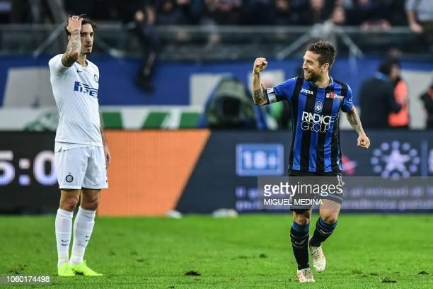 Atalanta's Argentine forward Alejandro Gomez celebrates after scoring during the Italian Serie A football match Atalanta Bergamo v Inter Milan at the...