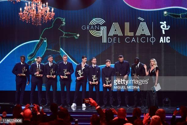 Atalanta's Colombian forward Duvan Zapata, Juventus' Italian defender Giorgio Chiellini, AS Roma's Serbian defender Alexander Kolarov, Atalanta's...