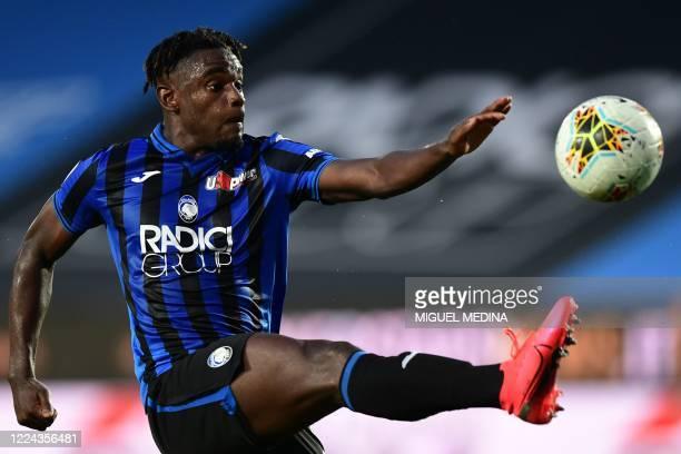 Atalanta's Colombian forward Duvan Zapata kicks the ball during the Italian Serie A football match Atalanta vs Napoli played on July 2, 2020 behind...
