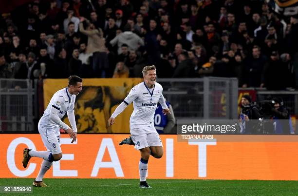 Atalanta's Danish forward Andreas Cornelius celebrates after scoring a goal during the Serie A football match between Roma and Atalanta at Olimpic...