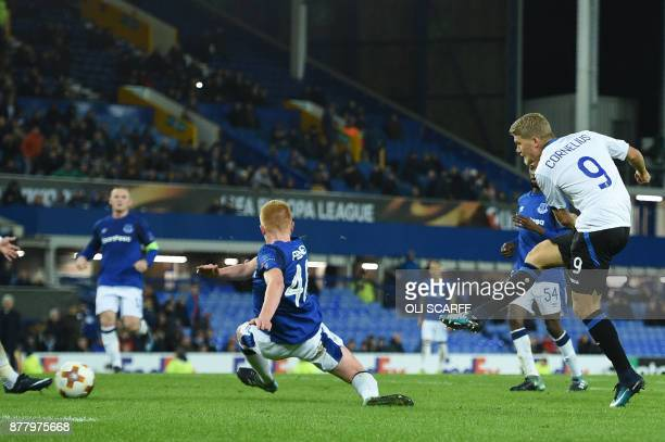 Atalanta's Danish striker Andreas Cornelius scores the team's fourth goal during the UEFA Europa League Group E football match between Everton and...