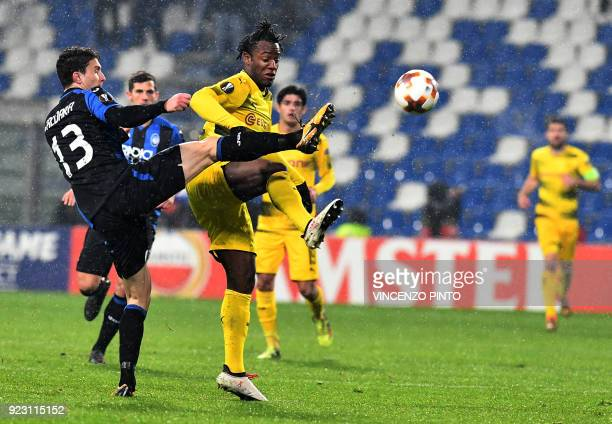 Atalanta's defender from Italy Mattia Caldara fights for the ball with Borussia Dortmund's forward from Belgium Michy Batshuayi during the round of...
