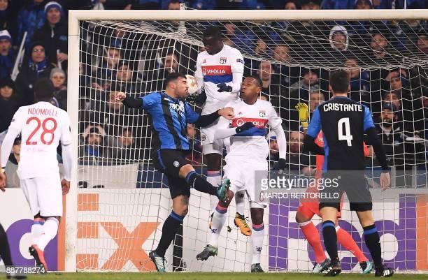 Atalanta's forward Andrea Petagna scores during the UEFA Europa League group E football match Atalanta vs Olympique Lyonnais at The Mapei Stadium in...