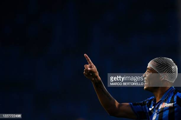 Atalanta's forward Luis Muriel from Colombia celebrates after scoring during the Italian Serie A football match Atalanta vs Bologna on July 21, 2020...