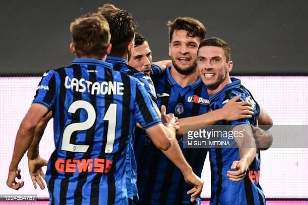 Atalanta's German defender Robin Gosens celebrates after scoring during the Italian Serie A football match Atalanta vs Napoli played on July 2 2020...