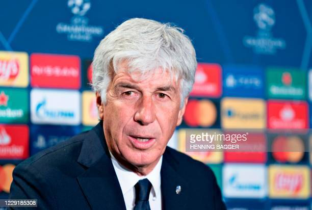 Atalanta's Italian head coach Gian Piero Gasperini addresses a press conference on the eve of the UEFA Champions League group D football match FC...