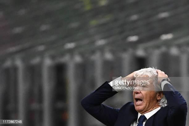 Atalanta's Italian head coach Gian Piero Gasperini reacts during the UEFA Champions League Group C stage football match Atalanta Bergamo vs Shakhtar...