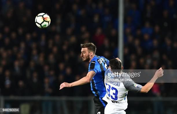 Atalanta's Italian midfielder Brian Cristante vies with Inter Milan's Italian defender Danilo D'Ambrosio during the Italian Serie A football match...