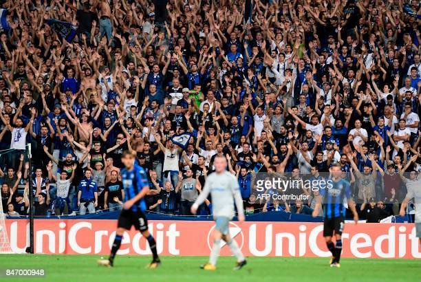 Atalanta's supporters gesture during the UEFA Europa League Group E football match between Atalanta and Everton at the Mapei Stadium in Reggio Emilia...