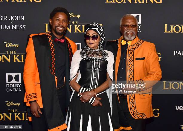 Atandwa Kani Mandi Kani and John Kani attend the premiere of Disney's The Lion King at Dolby Theatre on July 09 2019 in Hollywood California