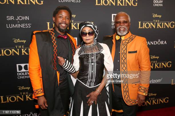 Atandwa Kani Mandi Kani and John Kani attend the World Premiere of Disney's THE LION KING at the Dolby Theatre on July 09 2019 in Hollywood California