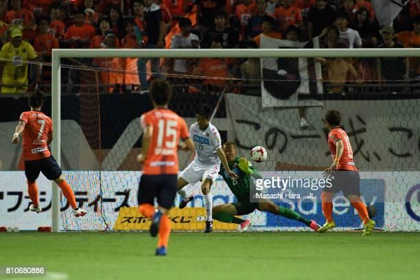 Ataru Esaka of Omiya Ardija scores his side's second goal during the JLeague J1 match between Omiya Ardija and Consadole Sapporo at NACK 5 Stadium...
