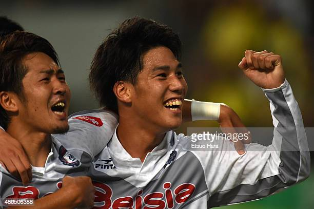 Ataru Esaka of Thespa celebrates scoring his team's first goal during the JLeague second division match between JEF United Chiba and Thespa Kusatsu...