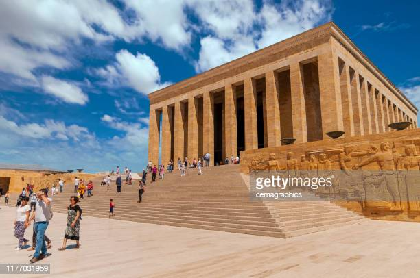 ataturk maousoleum area from capital city in ankara with people - ankara turkey stock pictures, royalty-free photos & images