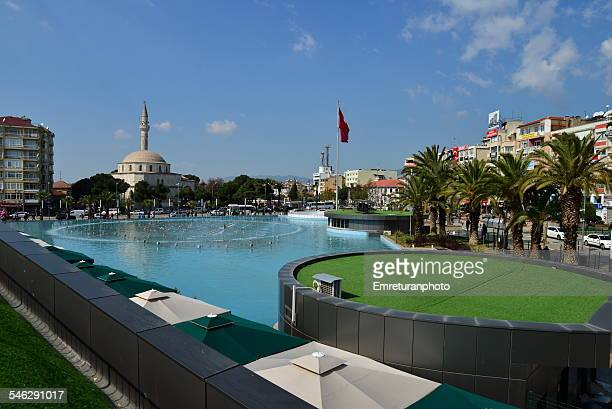 ataturk square pool and bey mosque - emreturanphoto stock pictures, royalty-free photos & images