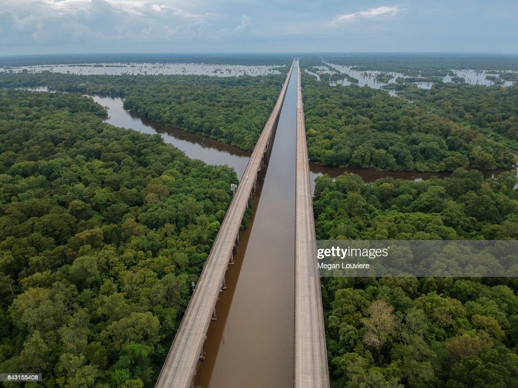 Atchafalaya Basin Bridge Interstate 10 Louisiana : ストックフォト
