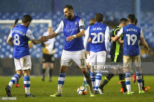 Atdhe Nuhiu and Jacob Butterfield of Sheffield Wednesday shake hands after The Emirates FA Cup Third Round Replay match between Sheffield Wednesday...