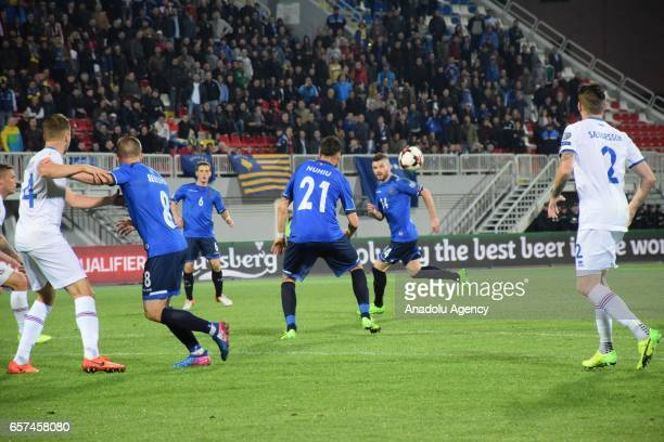 Atdhe Nuhiu of Kosovo in action during the 2018 FIFA World Cup Qualification match between Kosovo and Iceland at the LoroBorici stadium in Shkoder on...