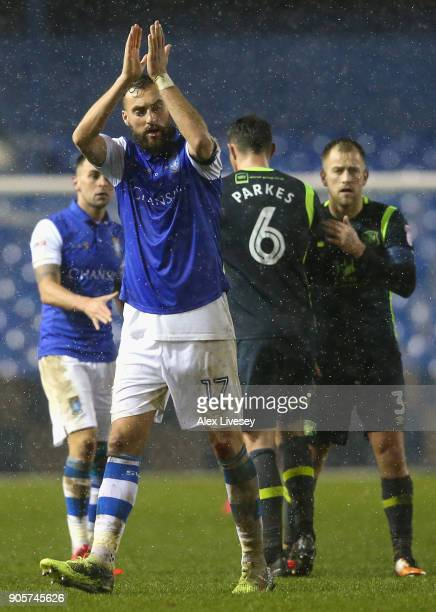 Atdhe Nuhiu of Sheffield Wednesday applauds the crowd after The Emirates FA Cup Third Round Replay match between Sheffield Wednesday and Carlisle...